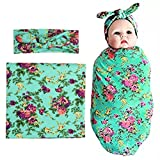 Newborn Swaddle Blanket Headband with Bow Set Baby Receiving Blankets (Green 1 Pack)