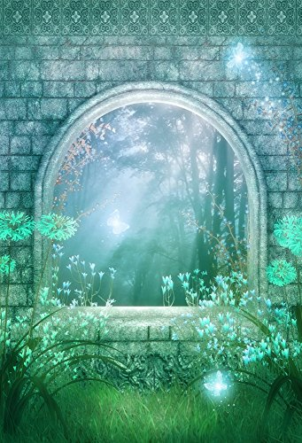 Leowefowa 3x5FT Vinyl Dreamy Backdrop Fairytale Weathered Brick Arch Gate Green Grass Field Backdrops for Photography Jungle Forest elf Background Sweet Baby Kids Children Photo Studio Prop