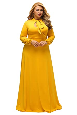 e76dbf938fb Lalagen Women s Vintage Long Sleeve Plus Size Evening Party Maxi Dress Gown  Yellow L