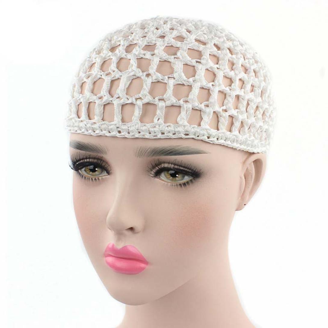 SUKEQ Women Hair Net Sleep Cap Crochet Woven Snood Hat Night Cap (White) by SUKEQ (Image #1)