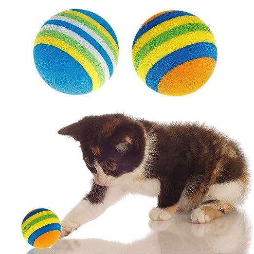 ecmqs juguete para gato - 10 piezas pelota multicolor juguetes ...