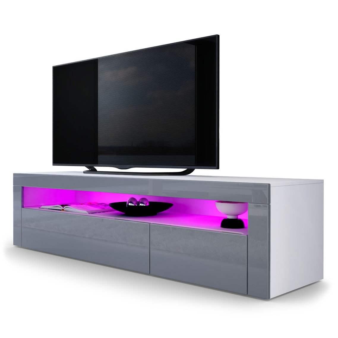 Tv Stand Unit Valencia Carcass In White Matt Front In Grey High  # Meuble Tv Led Fly