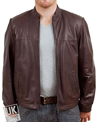 Mens Brown Leather Bomber Jacket Mcqueen Soft Nappa Leather