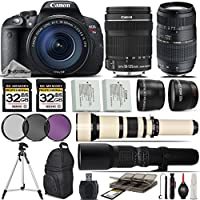 Canon EOS Rebel T5i DSLR Camera + 18-135mm IS STM Lens + Tamron 70-300mm Di LD Lens + 650-1300mm Zoom Lens + 500mm Telephoto Lens + 0.43X Wide Angle Lens + 2.2x Telephoto Lens- International Version