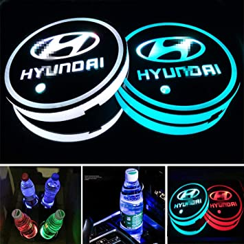 Aswelly LED Car Cup Holder Lights 2PCS Car Logo Cup Coaster with 7 Colors Changing USB Charging Mat Luminescent Cup Pad Interior Atmosphere Lamp Cool Car Accessories