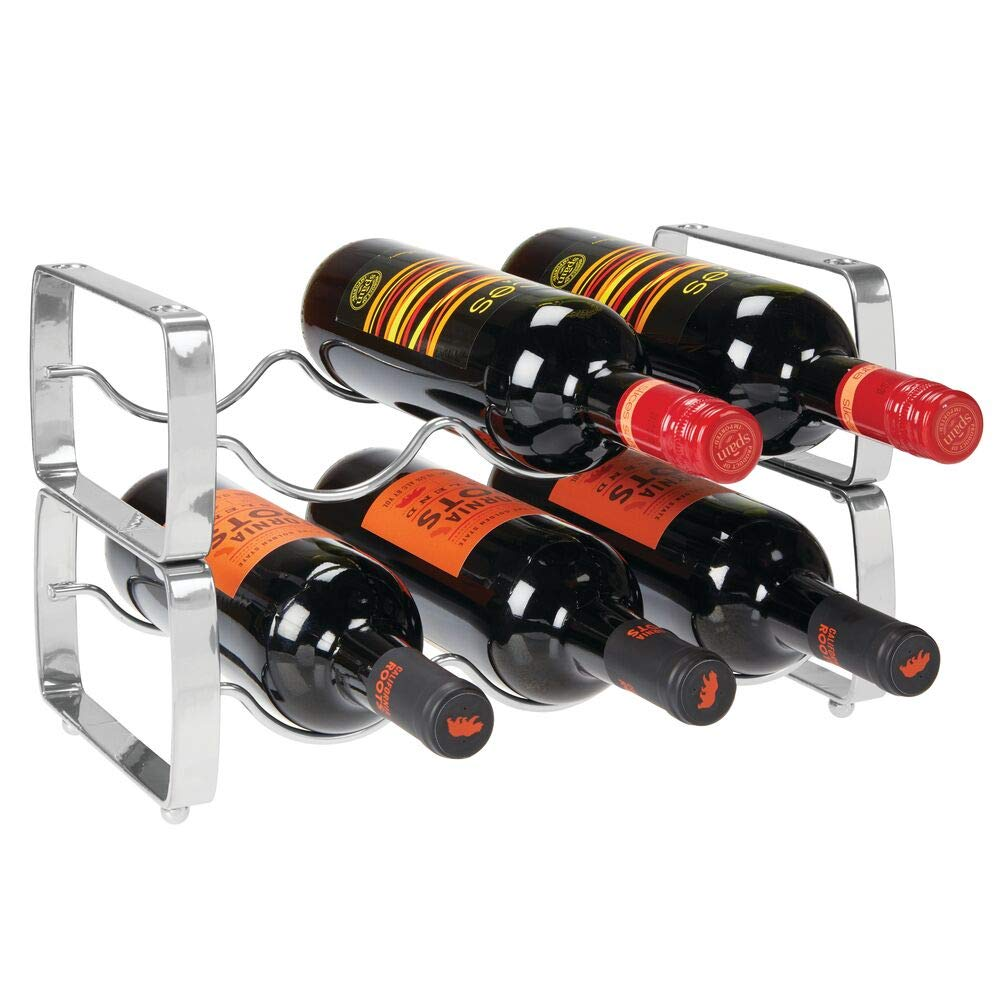 mDesign Metal Steel Free-Standing 6 Bottle Modular Wine Rack Storage Organizer for Kitchen Countertop, Table Top, Pantry, Fridge - Holder for Wine, Beer, Pop/Soda, Water, Stackable - Chrome
