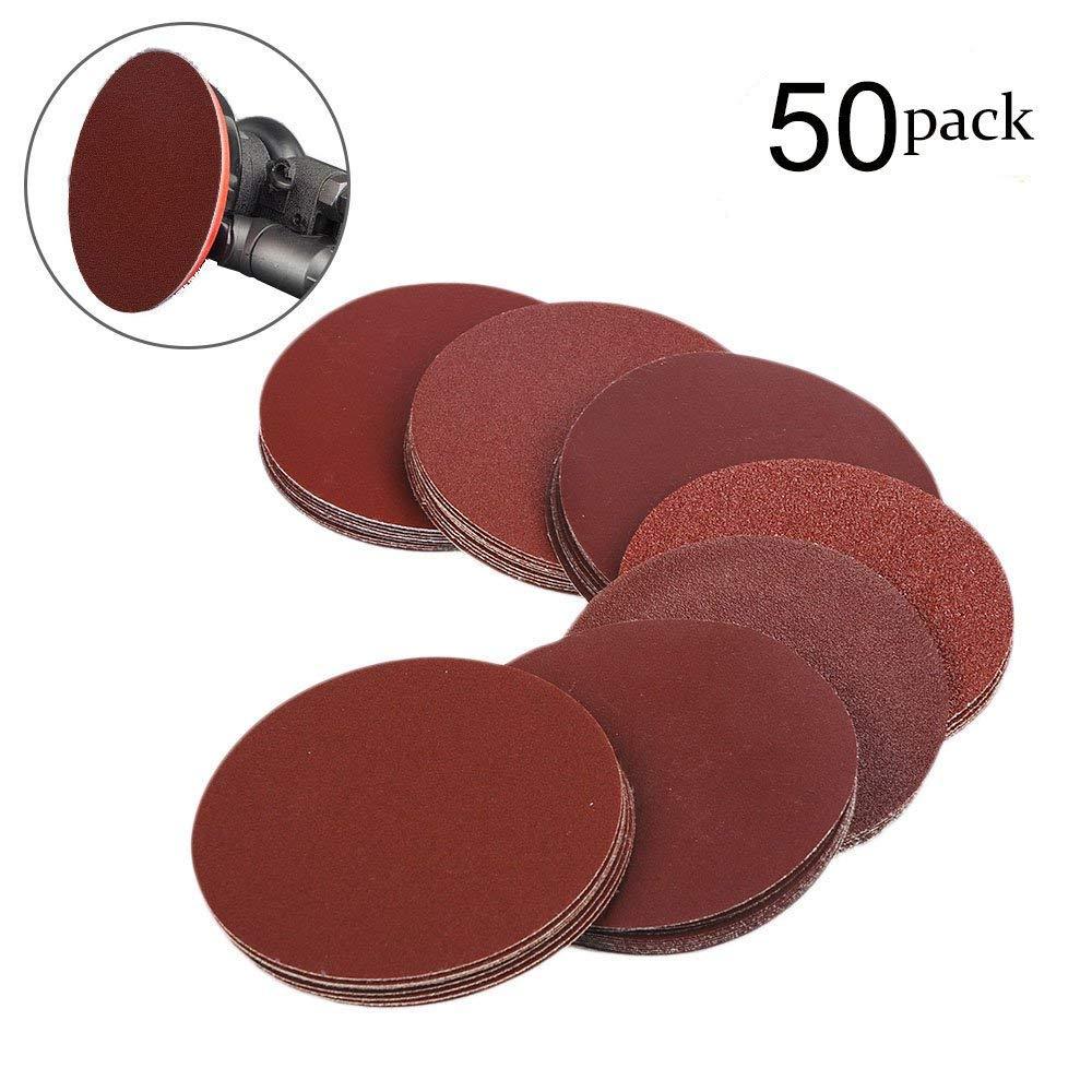 "50 Pack 320 Grit 6/"" Inch Hook and Loop Sanding Discs Orbital DA Sanding Paper"