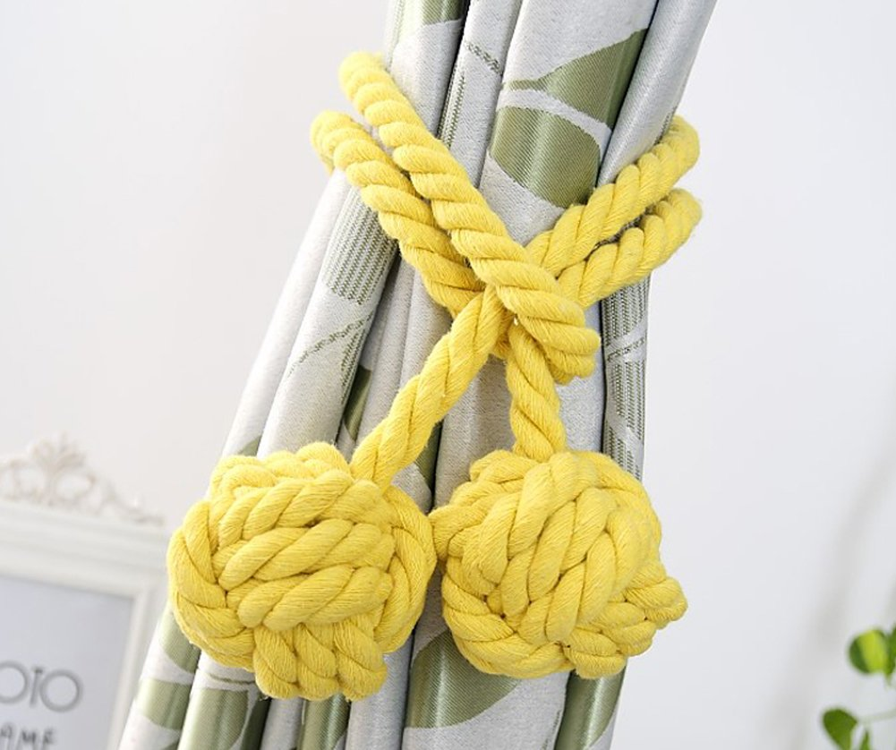 Loghot Fine Hand Tied Curtain Clip Drapery Tassels Curtain Tiebacks/Tassel Window Cotton Rope Tie Ball Back Accessories 47.2 Inches (Golden Yellow)