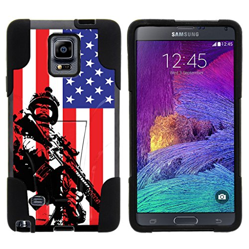 TurtleArmor | Samsung Galaxy Note 4 Case | N910 [Gel Max] Impact Proof Cover Hard Kickstand Hybrid Fitted Shock Silicone Shell Military War Army Camo Design - American Soldier