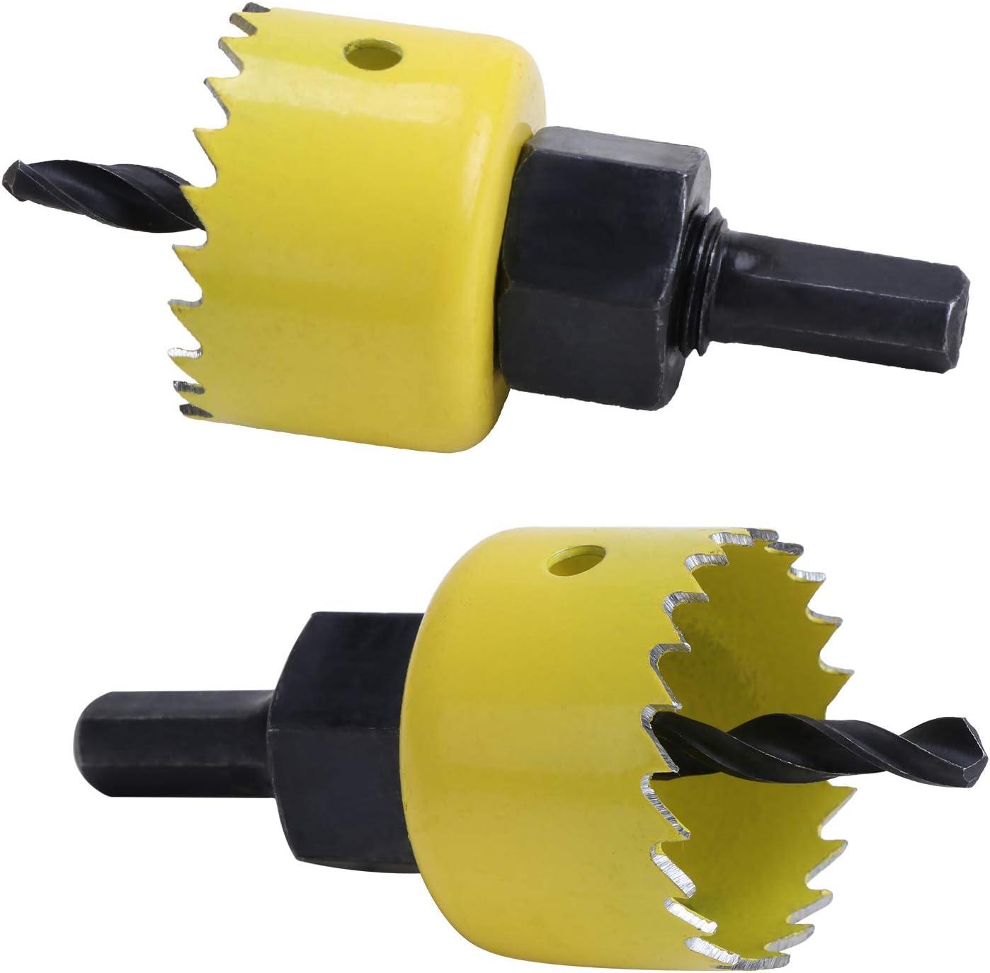127 mm Juego de sierras de corona de acero al carbono HSEAMALL pl/ástico 17 piezas placas de yeso herramientas para taladro para madera 19