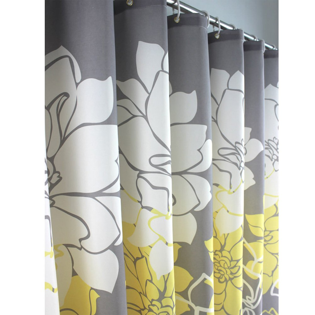 Yellow And Black Bathroom Curtains