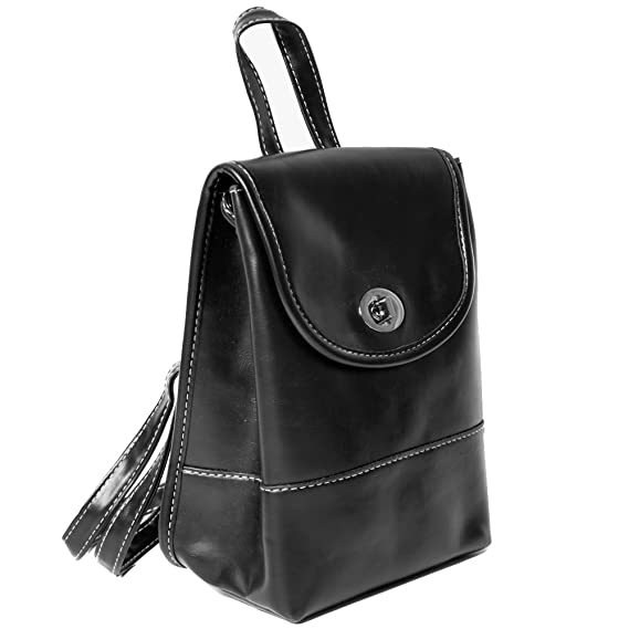 Amazon.com | Womens Black PU Mini Rucksack Backpack with Adjustable Strap | Casual Daypacks