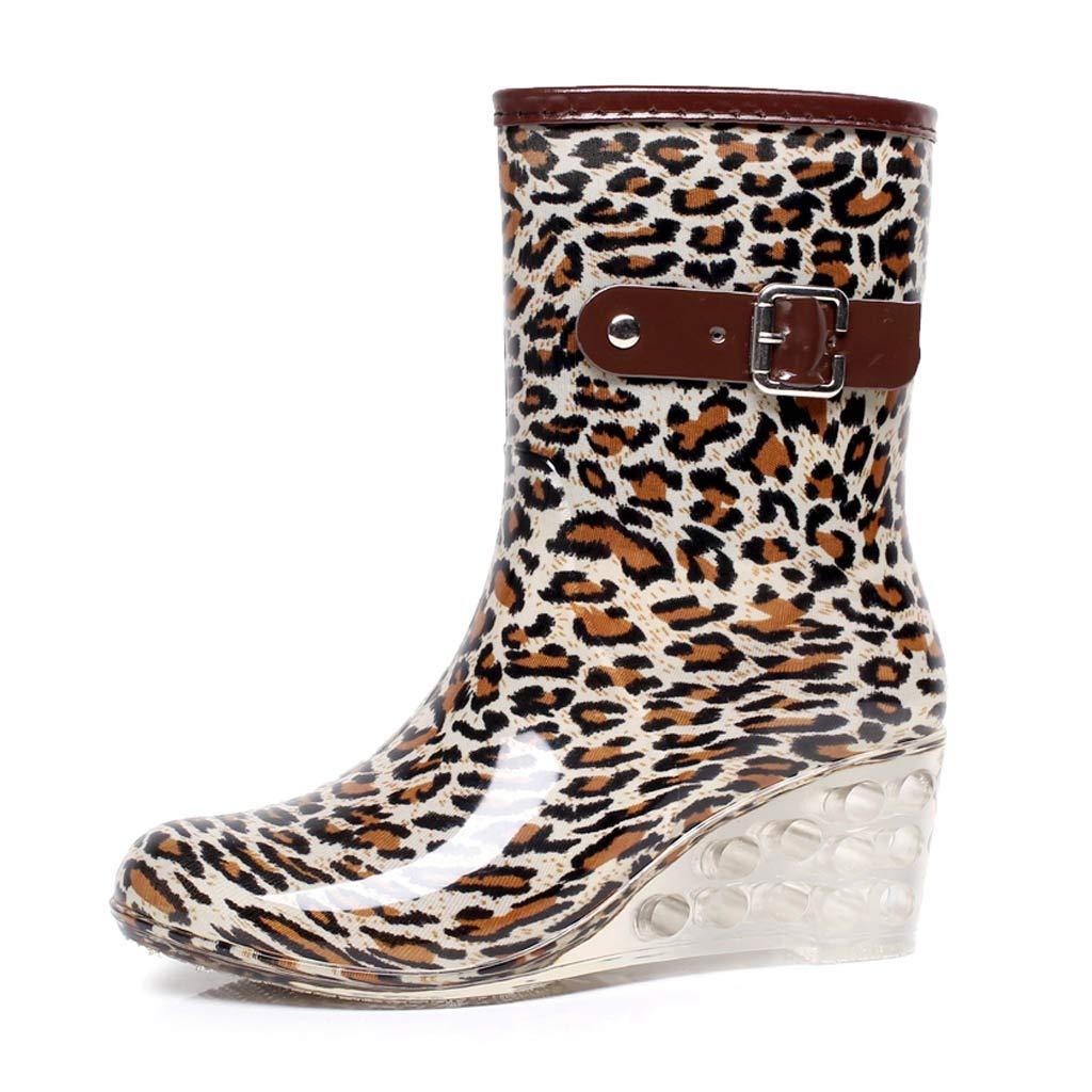 Women's Ankle High Rain Boots Side Zipper Wedge High Heel Waterproof Water Shoes Outdoor Bootie (Brown, US:6.0)