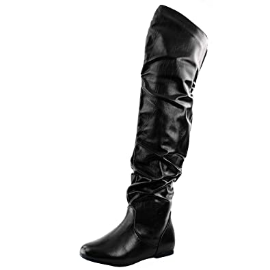 12cbdac37fcc Women s Over The Knee Slouchy Flat Boots Knee High Low Heel Shoes Thigh  High Boots Black
