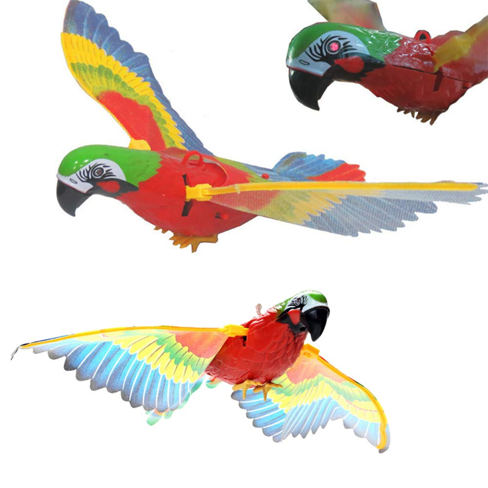 yanbirdfx Funny Kids Electric Wire Parrot Bird Toy with Light Music Simulation Messenger