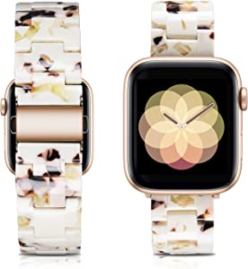 Caunedy Compatible with Apple Watch Band 38mm/40mm-Light and Waterproof Fashion Replacement Resin Band with Stainless Steel Buckle for iWatch Series 6/5/4/3/2/1/SE (Nougat White, 38/40mm)