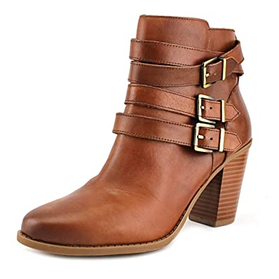 Laini Women Round Toe Leather Brown Ankle Boot