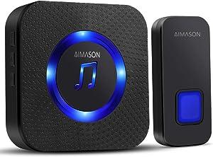 Wireless Doorbell, AIMASON 1300ft Remote Door Bells, Waterproof IP55 Door Chime Kit with 5-Level Volume, 55 Chimes & Blue Light, 1 Plug-in Receiver for Home (black)