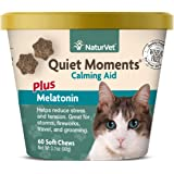 NaturVet –Quiet Moments Calming Aid for Cats Plus Melatonin – 60 Soft Chews – Helps Reduce Stress & Promote Relaxation…