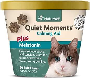 NaturVet silencioso Moments Calming Aid Plus melatonina para Gatos, masticables Suaves de 60 CT, Fabricado en Estados Unidos: Amazon.es: Productos para mascotas