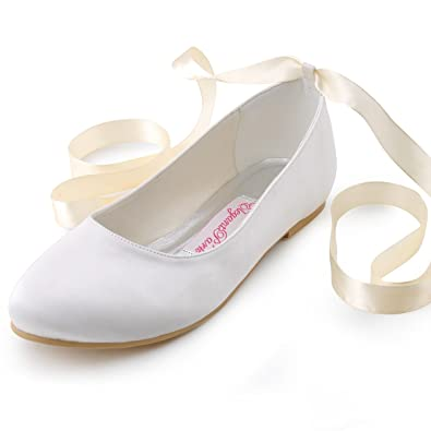 30bc69ba8d6 ElegantPark EP11105 Women Comfort Flats Closed Toe Ribbon Tie Satin Wedding  Bridal Shoes Ivory US 4
