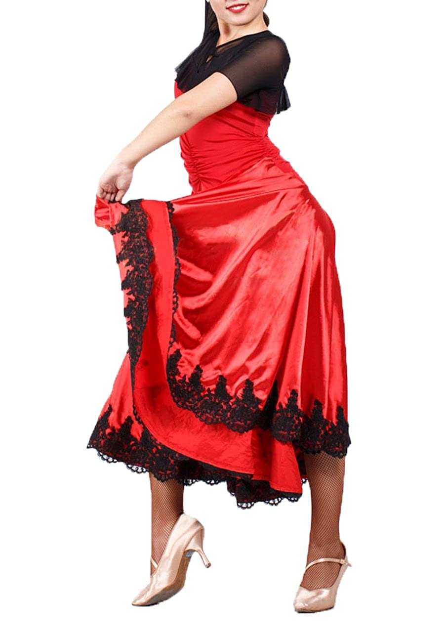 61cd294d65d0 ... JS CHOW Black Red Spanish Paso Doble Bullfighting Flamenco Dance Dress  Performance Costume Q0186 ...