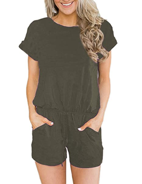 6d5f939ebc8f ANRABESS Women s Summer Solid Jumpsuit Casual Loose Short Sleeve Jumpsuit  Rompers with Pockets Elastic Waist Playsuit