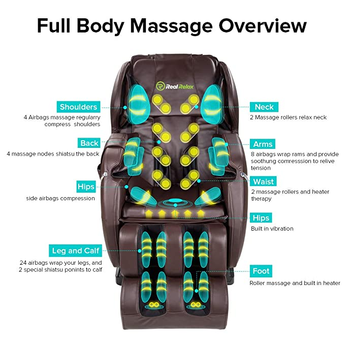 Amazon Com Real Relax Zero Gravity Full Body Best Budget Shiatsu Electric Massage Chair With 3 Years Warranty Heat And Foot Rollersbrown Health