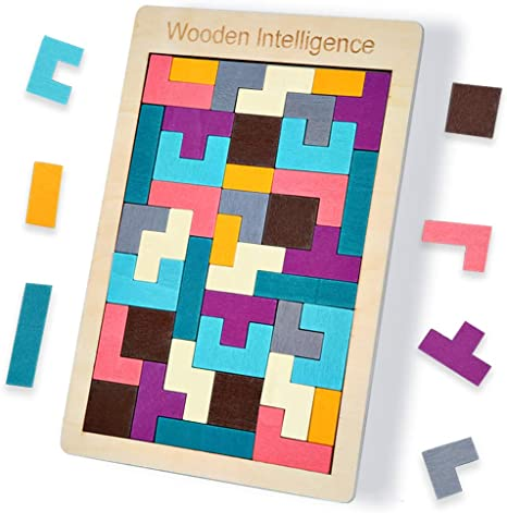 Colorful Wooden Tetris Puzzle Tangram Brain Teaser Puzzle Toys Educational Gifts