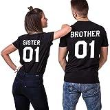 JWBBU Sister Brother T-Shirt Pärchen Shirt Set für Zwei Couple Shirt Baumwolle Schwaz Weiß Casual Oberteil Kurzarm Geschenk 2 Stücke