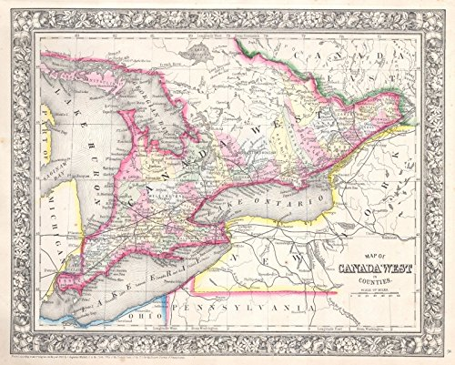Historic Map | Mitchell Map of Ontario, Canada -, 1864 | Historical Antique Vintage Decor Poster Wall Art | 24in x 20in