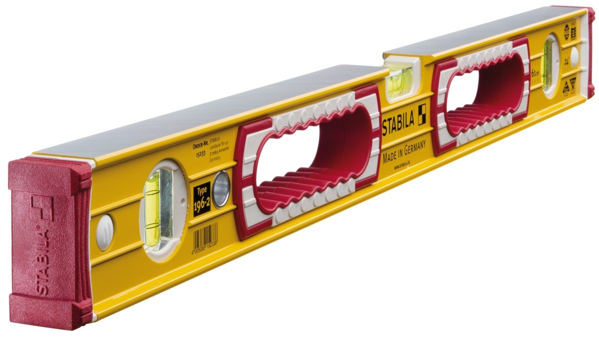 Stabila 196-2-100 Level 3 Vial 100cm/40in 15235 STB196-2-100 Box Section Levels Double Plumb Smooth Finish Box Levels Hand Tools Stabila Double Plumb Levels with ' grips'