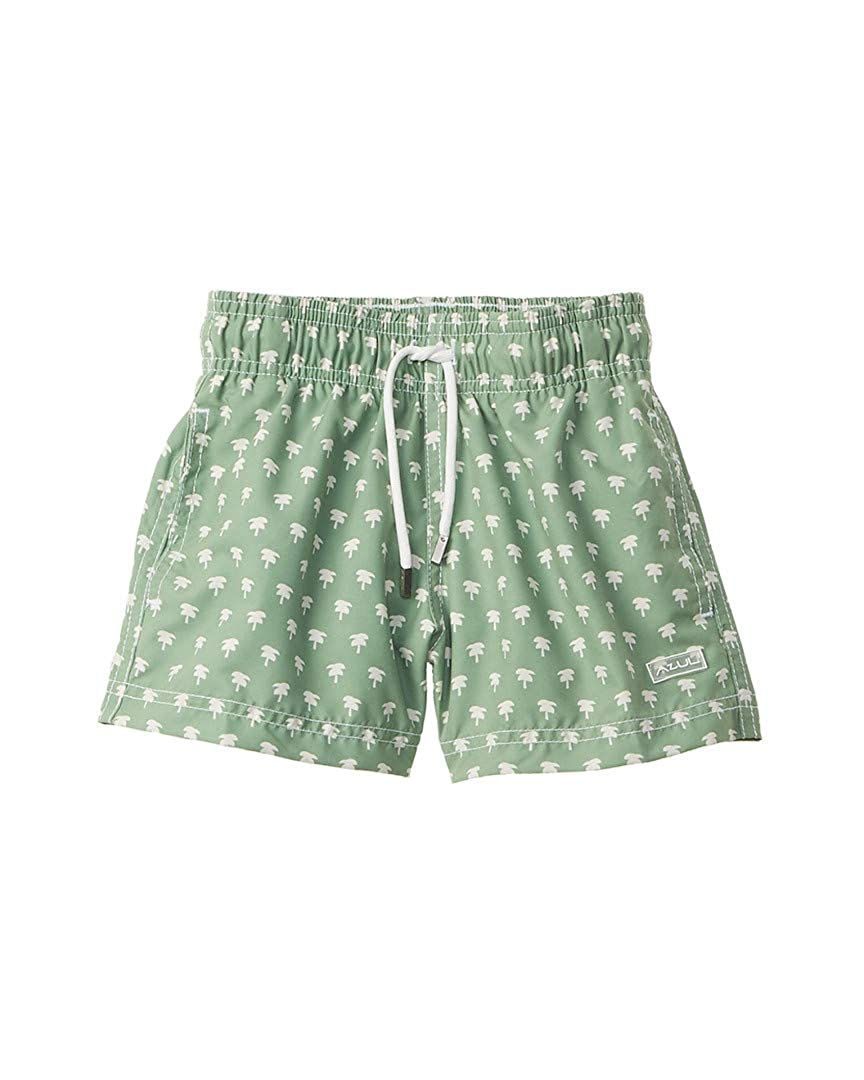 Azul Little Boys Green Palm Spring Print Drawstring Tie Swimwear Shorts 2