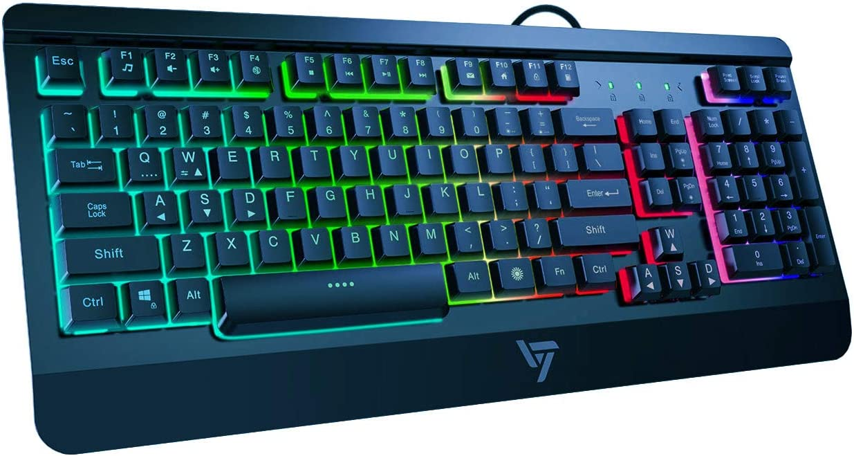 VicTsing Gaming Keyboard USB Wired Keyboard, Quiet All-Metal Panel Spill-Resistant Keyboard with Ergonomic Wrist Rest, Ultra-Slim Rainbow LED Backlit Keyboard for Desktop, Computer, Blue