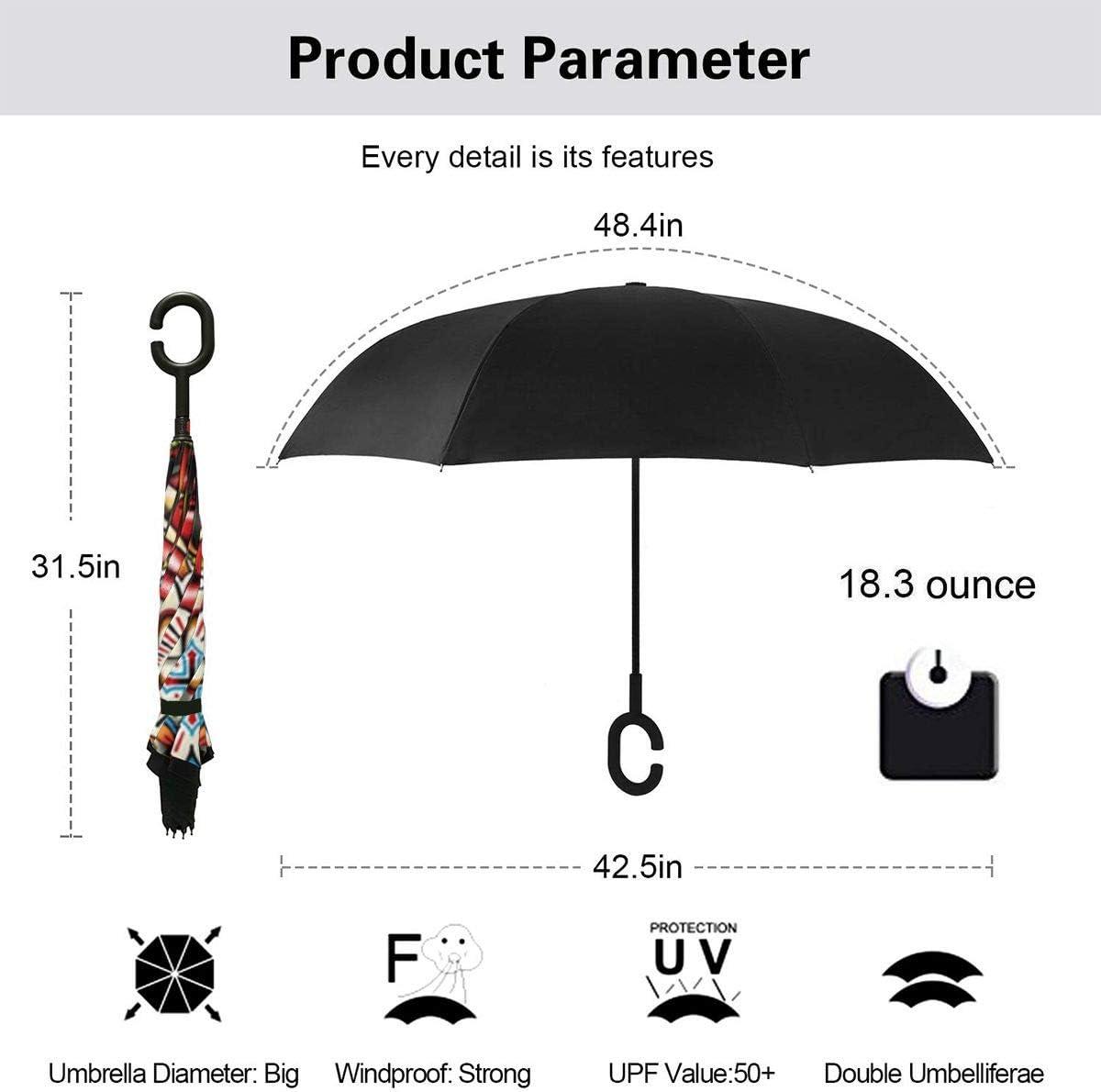 S200US Rose in The Eye Skull Inverted Reverse Umbrella Sun/&Rain Car Large Windproof Travel UV Umbrella