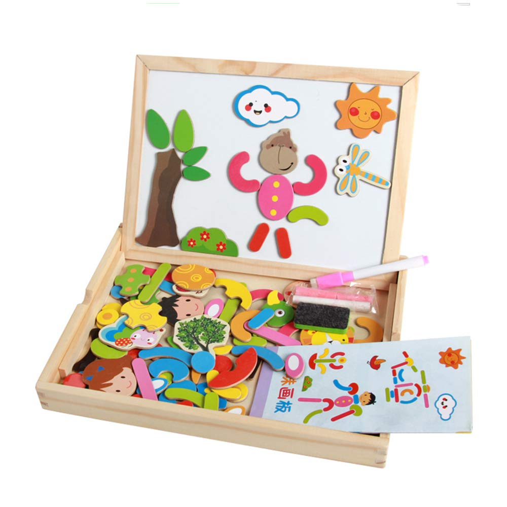 Toddler craft Toys Educational Travel Puzzle Games Double Sided Drawing Easel for Boys and Girls XUANYUN Wooden Magnetic Jigsaw Puzzles Toy