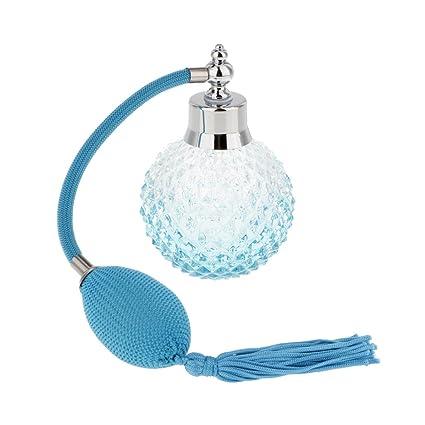 Accesorios Decorativos Botella Perfume Cristal Vidrio con Tubos Atomizador Aerosol Retornables - Azul