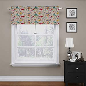 "carmaxs Custom Valance Kitten for Kitchen Window Treatment Playful Happy Kittens Chasing Butterflies and Wool Balls Among Colorful Flowers 54"" x 18"" Multicolor"