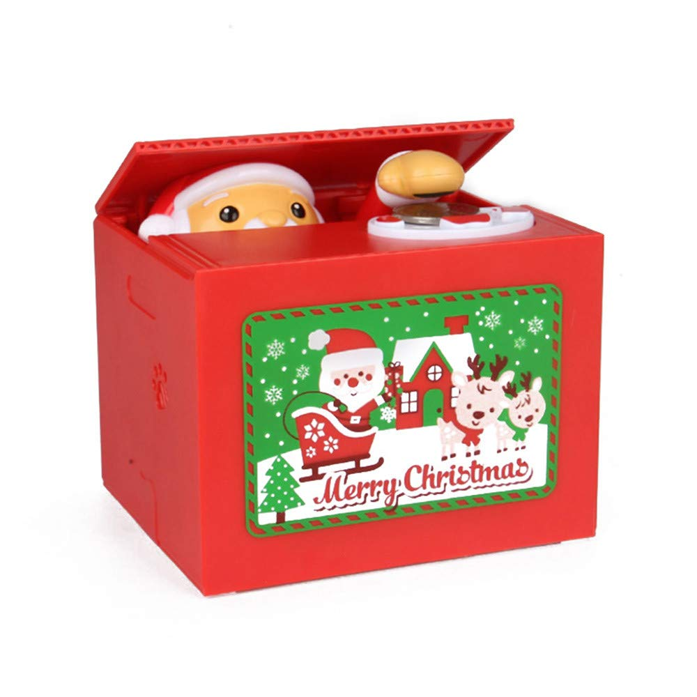 AmaSells Cute Santa Claus Penny Piggy Bank Automatic Coin Grabbing Eating Money Saving Box,Electric Money Stealing Box Piggy Bank,Kids Toy (multicolor)
