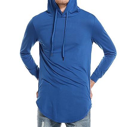 LuckyGirls Camisetas Hombre Manga Larga Color Puro Encapuchado Originales Casual Streetwear Camisa Gimnasio Deporte Sudaderas con
