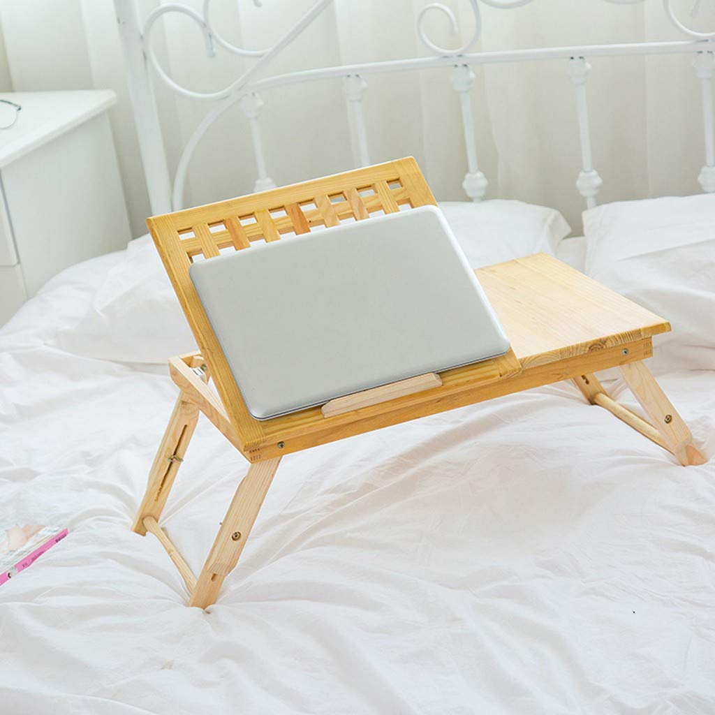 Wood Laptop Desk for Bed Height Adjustment Laptop Tray Desk Solid Wood Foldable Lazy Table Bed Tray Iuhan US Fast Shipment Lap Desks for Adults Bed Trays for Eating and Laptops Stand Lap Table