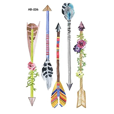 Amazon.com : WYUEN 5 Sheets Arrow Temporary Tattoo Waterproof Tattoo Sticker For Women Men Hand Body Art 9.8X6cm (AB-001) : Beauty