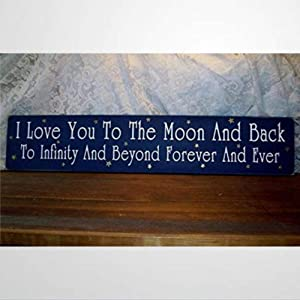 BYRON HOYLE I Love You to The Moon and Back Infinity and Beyond Nursery Decor Wooden Sign Wood Plaque Wall Art Wall Hanger Home Decor