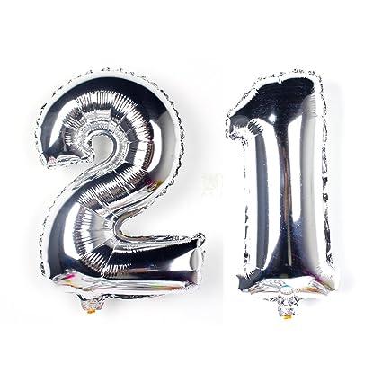 KIYOOMY 40 In Number 21 Balloon Kit Silver Gaint Jumbo Foil Mylar Balloons For Birthday