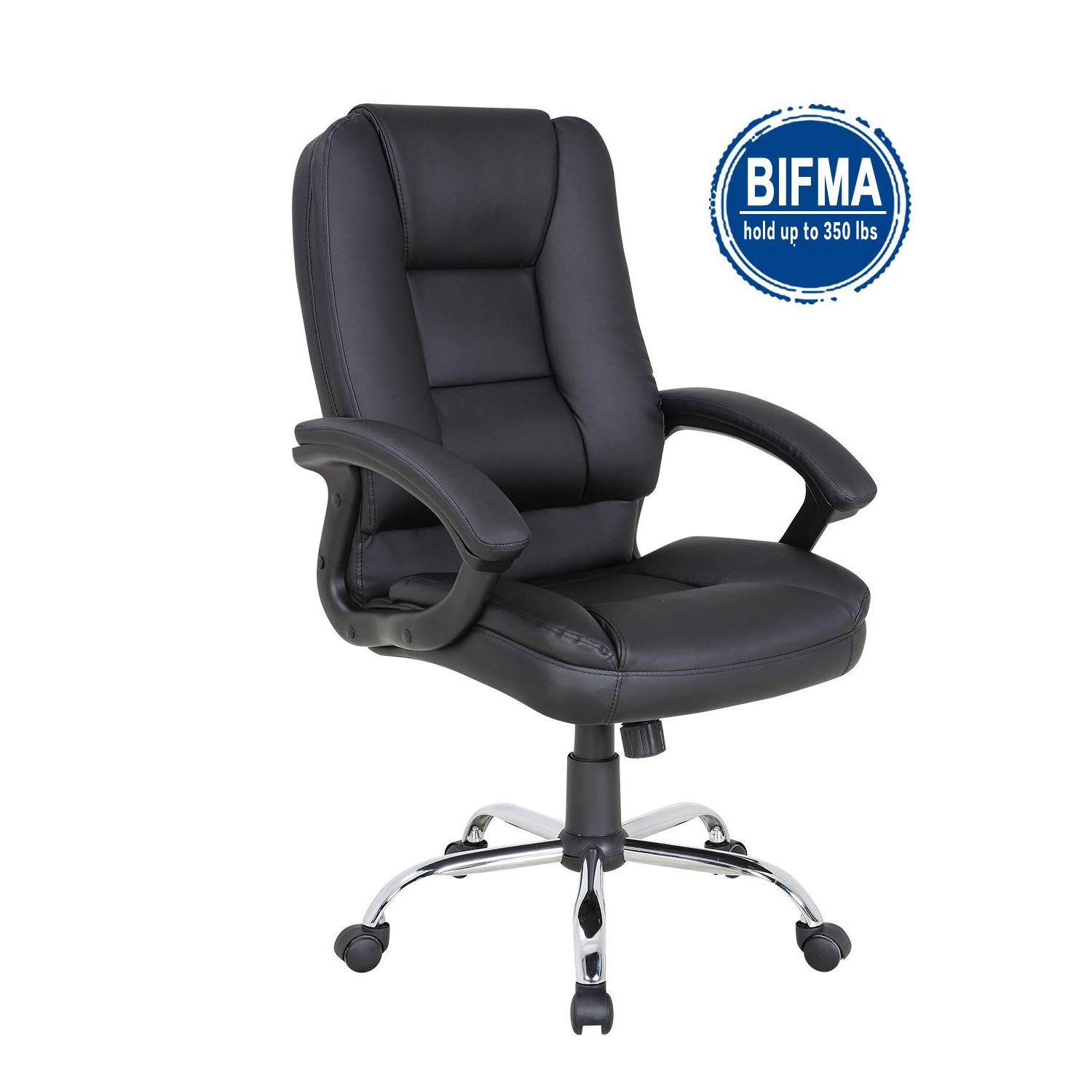 LCH PU Leather Office Chair Swivel Executive Chair with Tilt Function and Thick Seat, Ergonomic Computer Chair Headrest and Lumbar Support 350 LBS (Black) by LCH