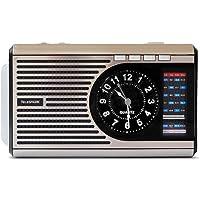 Rádio Retrô Relógio Lanterna Bateria Pilha USB FM/AM/SW, Telespark, CLOCK 1, Prata