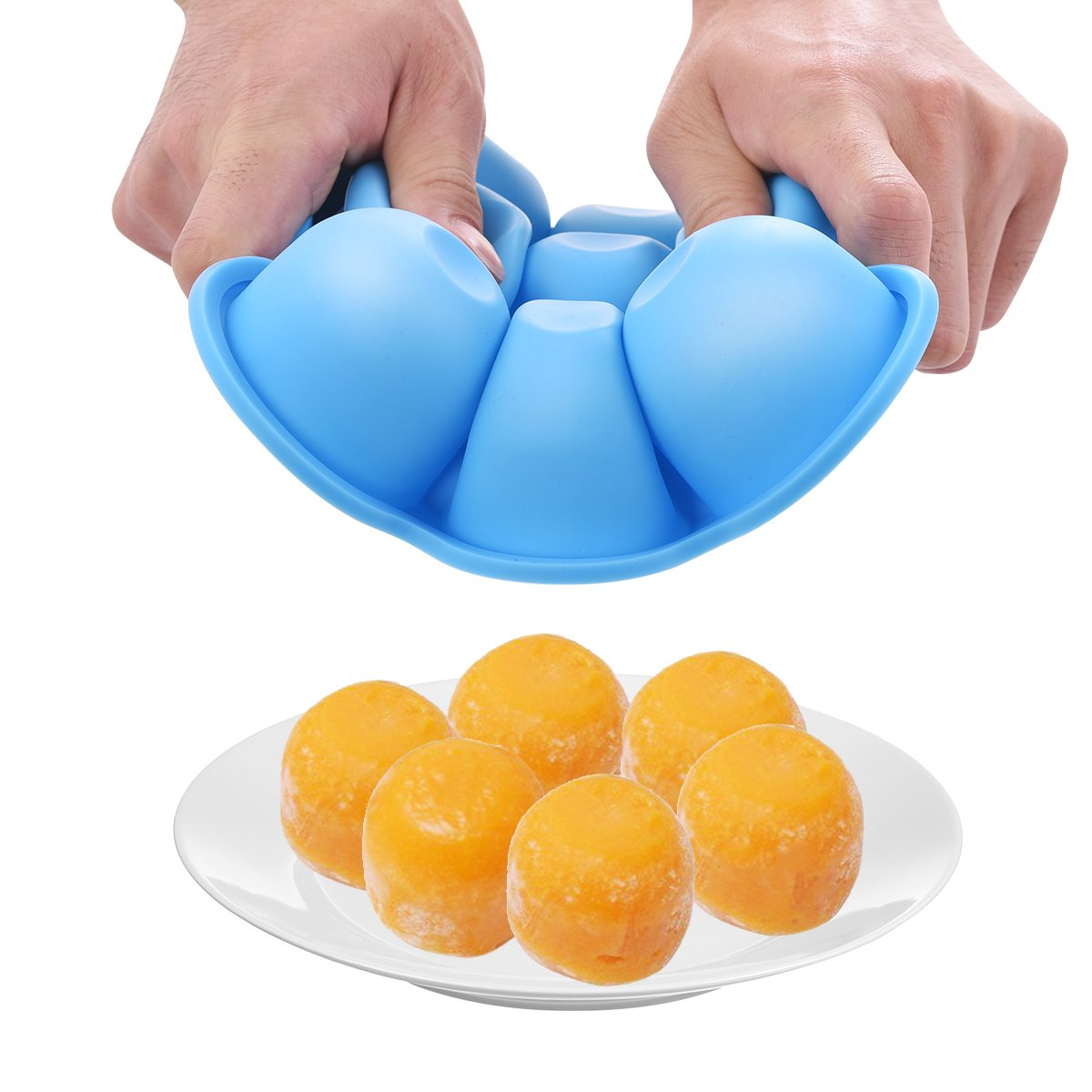 seguras y reutilizables de silicona con tapa y cuchara libre de BPA naranja, azul y verde Bandejas contenedoras para congelar alimentos para beb/é azul azul Talla:19 CM x 19 CM x 5 CM