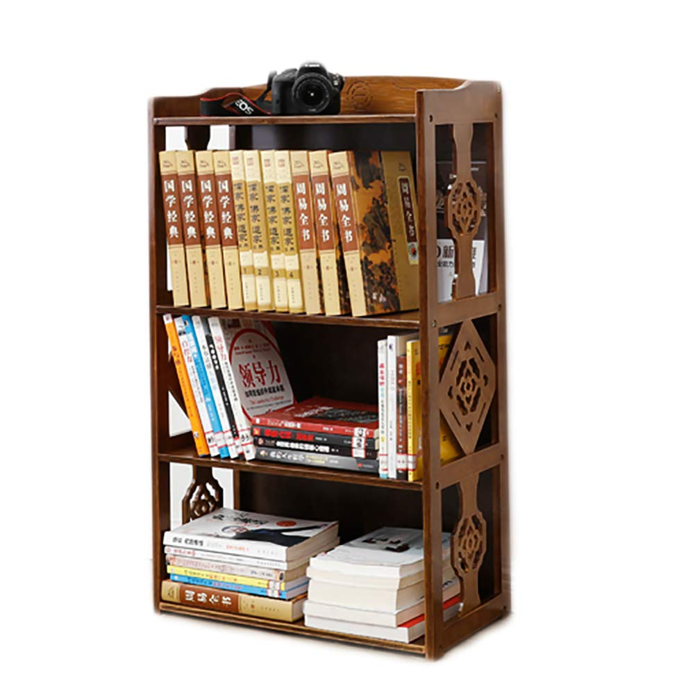 DULPLAY Stile Cinese Legno Libreria, con cassetto Vintage Ispessita Scaffale libreria da Parete Multifunzionale Cremagliera di immagazzinaggio per casa o Ufficio -C 132x28x43cm(52x11x17inch)