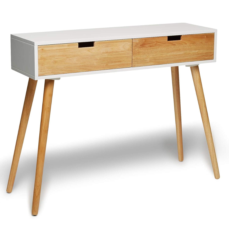 Consolle in legno bianco con cassetti, design scandinavo moderno, stile retrò, dimensioni: 100x 30x 80cm stile retrò Green Spirit