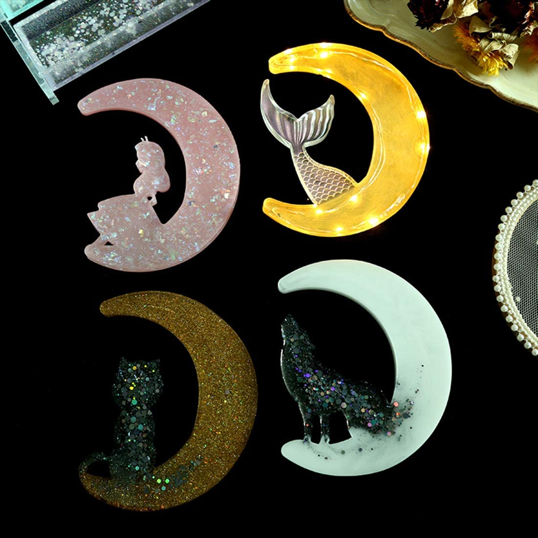 FineInno 4 Pack Crescents Moon Mold Crescents Moon Molds Moon Mermaid Tail,Moon Princess Moon Cat Epoxy Resin Molds Silicone Epoxy Molds for Making Moon Wolf